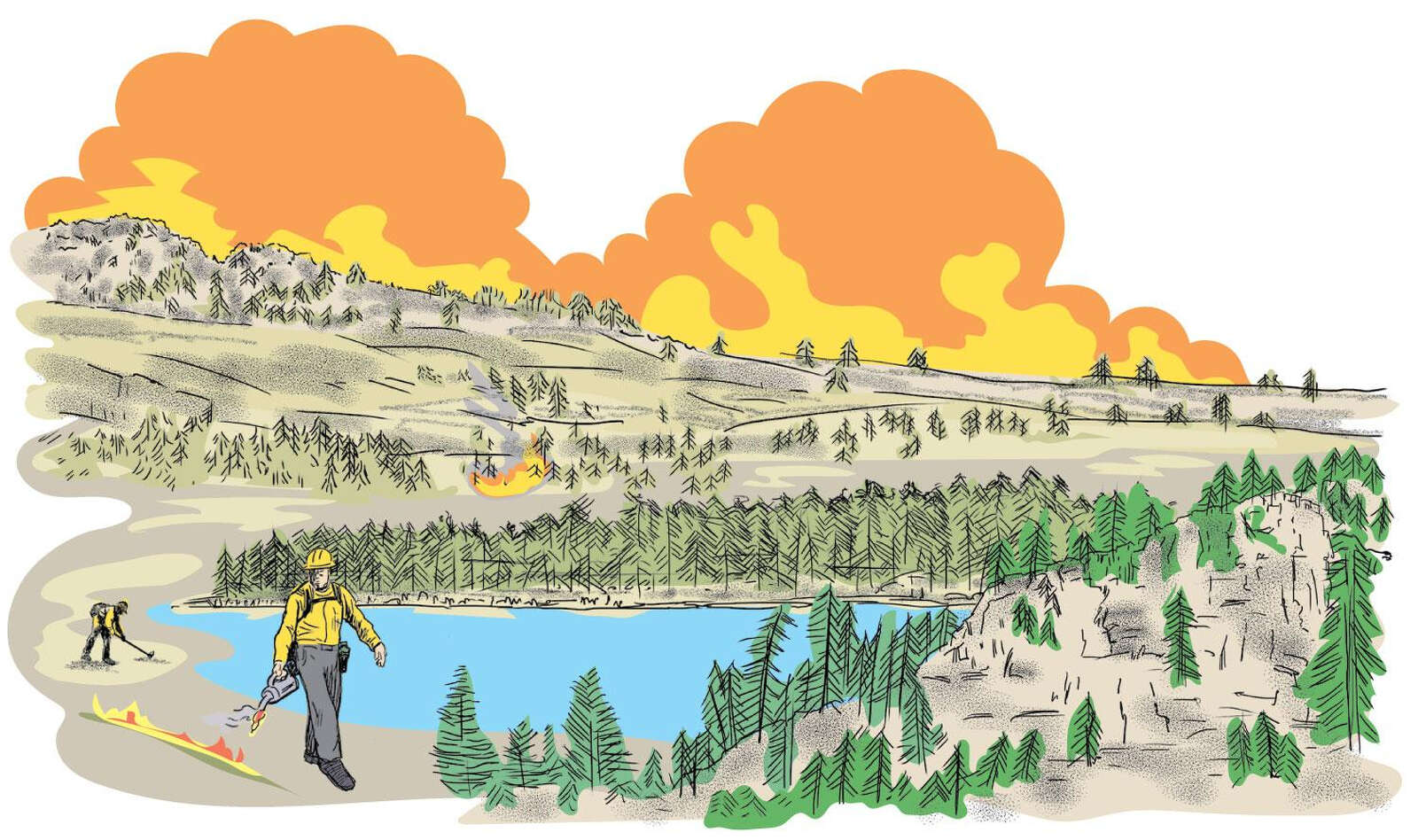 Firefighter tactics used to control flames in rugged terrain, ski resorts and residential areas