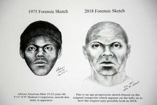 Police sketches of the Doodler from 1975 and 2018