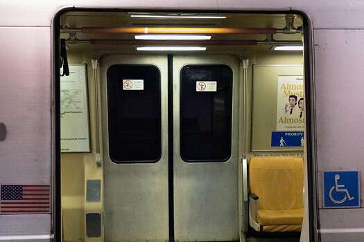 An open door shows an empty BART train at the Embarcadero Station on March 19, 2020 in San Francisco, California.