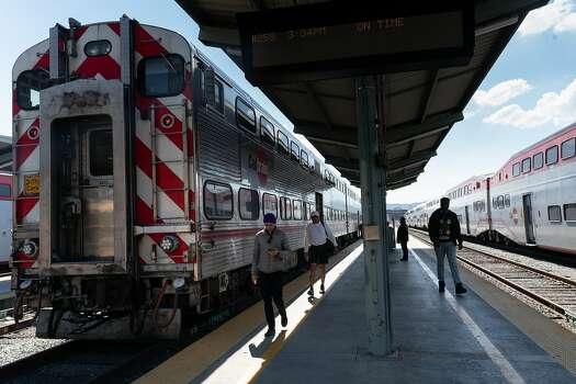A Caltrain deboards three passengers on March 19, 2020 in San Francisco, California.