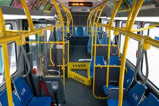 An empty Muni bus near the Caltrans station on March 19, 2020 in San Francisco, California.