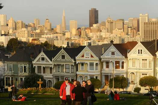 About a dozen people in Alamo Square next to the Painted Ladies on Saturday, Feb. 13, 2010, in San Francisco, California.