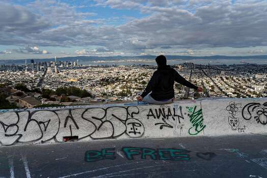One person stretches at Twin Peaks on March 19, 2020 in San Francisco, California.