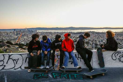 Six skateboarders gather to watch the sunrise at Twin Peaks as they honor the life of fellow skateboarder Pablo Ramirez on what would have been his 27th birthday on Monday, Feb. 10, 2020 in San Francisco, California.