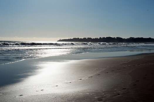 A photo of an empty Stinson Beach scene on Thursday, March 26, 2020, in Marin County