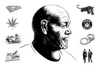 Illustration of Dan Rush, a prominent Oakland union organizer and legal cannabis booster who ended up in prison