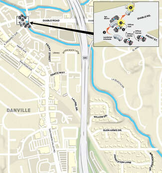 A detail diagram shows the events leading up to Arboleda being shot.
