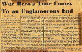 A news clipping with the headline: 'War Hero's Tour Comes to an Unglamorous End'