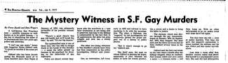 A newspaper clipping with the headline: 'The Mystery WItness in S.F. Gay Murders'