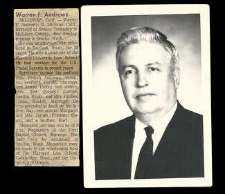 A portrait of Warren Andrews.