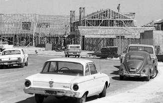 Wood-framed single-family homes sprout in the planned community Foster City, Calif., which was conceived in the early 1960s by T. Jack Foster Jr. Photographed Aug.12, 1974.