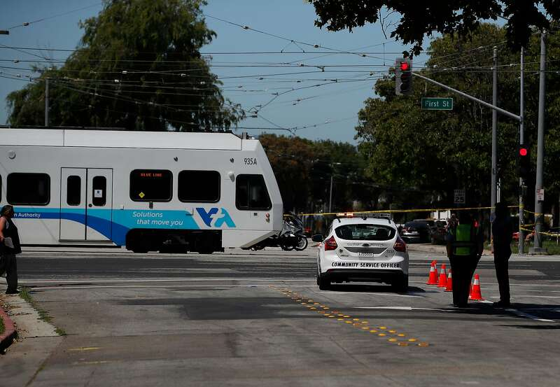 A VTA train near the site of the shooting