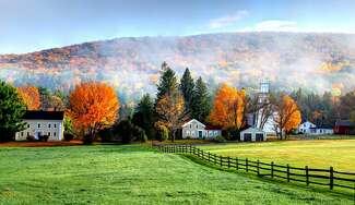 Historic homes and fall foliage