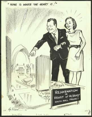 """The pencil-sketched cartoon shows Empire State Plaza, with the Rockerfellers looming largely over. A sign in front of the plaza says """"Rejuvenation in the heart of Albany, South Mall project"""", and a handwritten headline above says """"Home is where the heart is!"""""""