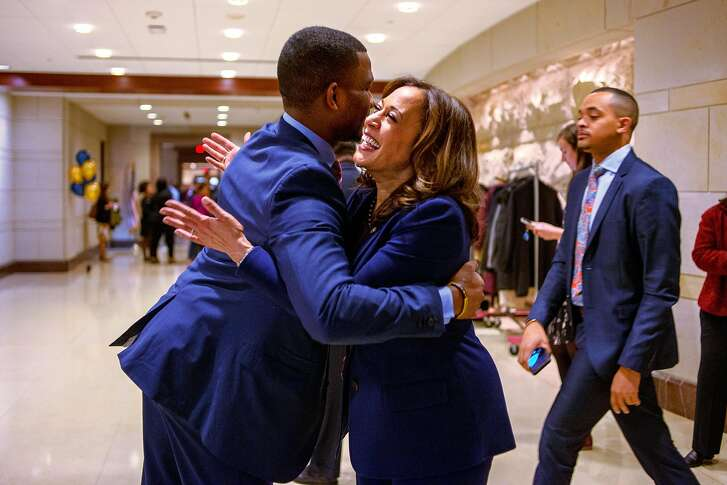 WASHINGTON, D.C. - JANUARY 9, 2019: Sen. Kamala Harris, D-Calif., shares a hug with a staff member before exiting the Capital Visitors Center in Northwest Washington, D.C., during an event welcoming the incoming women members of the Congressional Black Caucus on January 9, 2019. CREDIT: Photo by Andrew Mangum for The San Francisco Chronicle