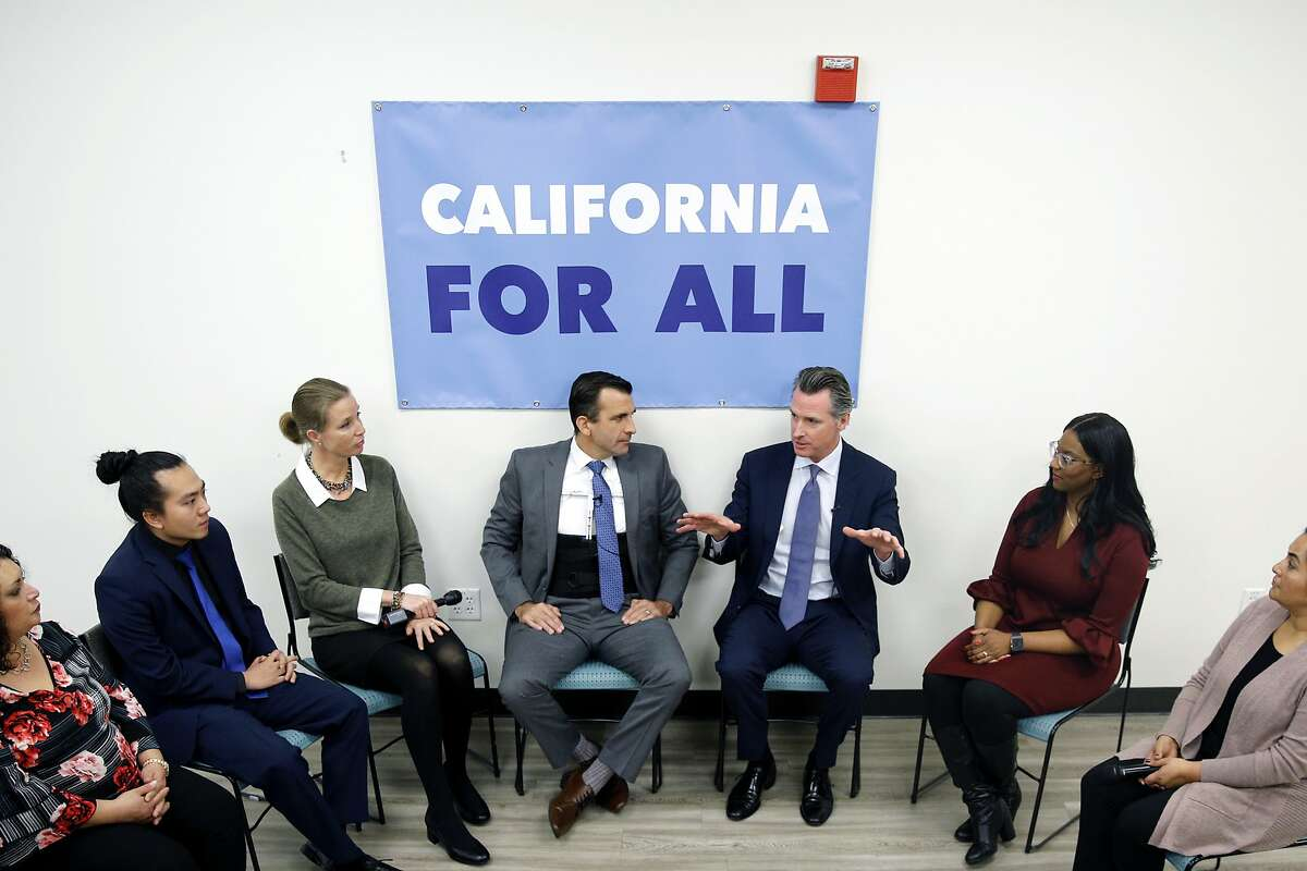 Governor Gavin Newsom during a community meeting at the Seven Trees Community Center on Tuesday, Jan. 15, 2019, in San Jose, Calif. Alongside San Jose Mayor Sam Liccardo, Gov. Newsom met with people who are grappling with the state's housing crisis. At the event, the governor talked about housing proposals he laid out in the budget he submitted to the Legislature last week.