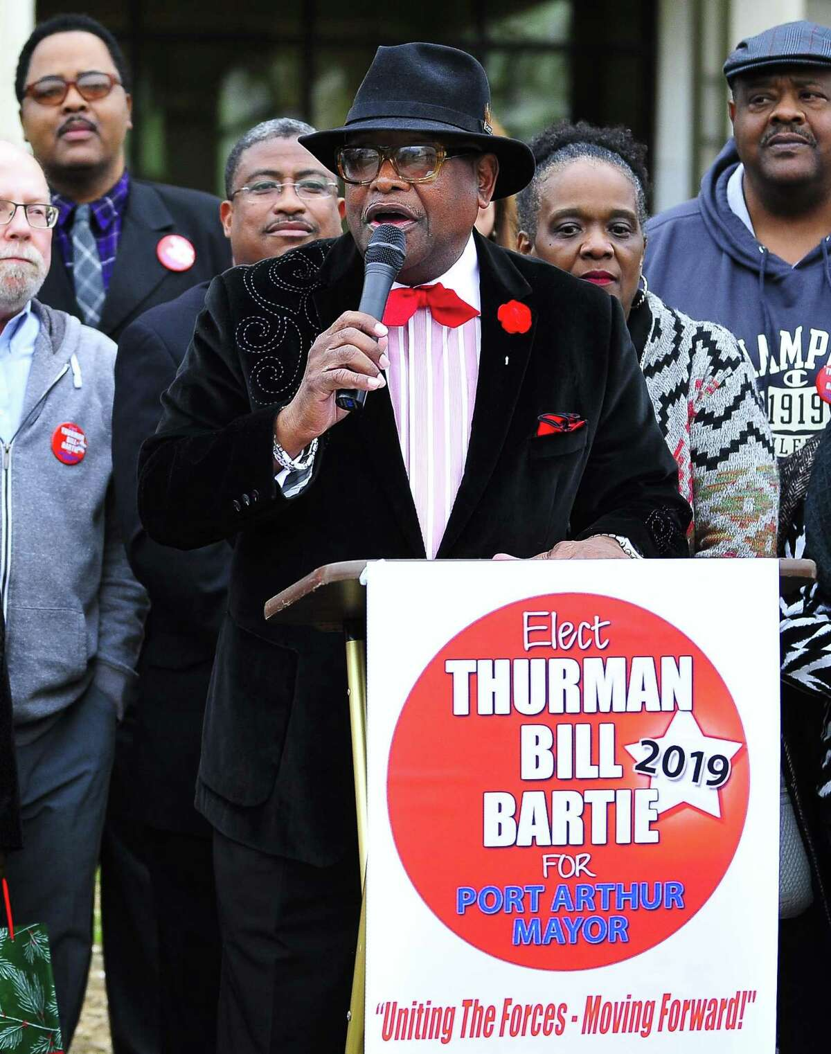 Thurman Bill Bartie announces his candidacy for the 2019 Port Arthur mayor race in front of City Hall on Tuesday. Photo taken on Tuesday 01/15/19.