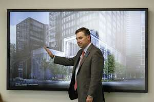 Travis Overall, EVP for property owner Brookfield Properties discussed new renovation plans for Houston Center at 2 Houston Center, 909 Fannin St., Monday, Jan. 14, 2019, in Houston.