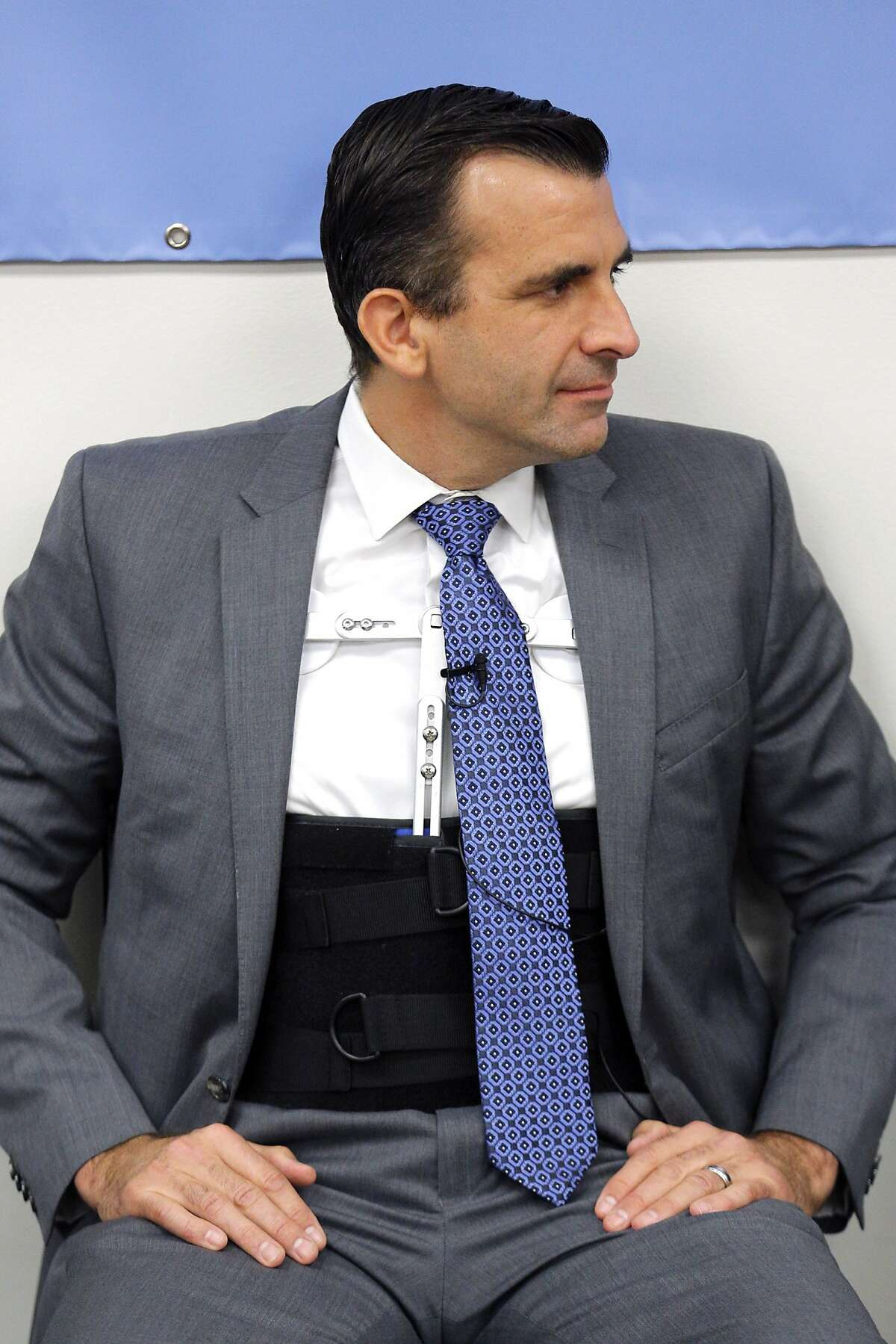 San Jose Mayor Sam Liccardo during a community meeting Tuesday, Jan. 15, 2019. The mayor is wearing a brace after being hit by a car while biking on New Year's Day.