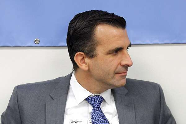San Jose Mayor Sam Liccardo during a community meeting at the Seven Trees Community Center on Tuesday, Jan. 15, 2019, in San Jose, Calif. The mayor is wearing a brace after being hit by a car while biking on New Year's Day.
