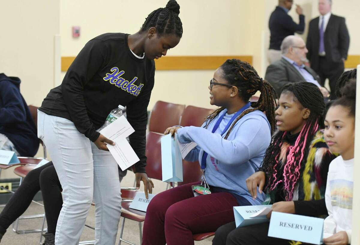 Students from the city of Albany School District take their seat before during Dr. Martin Luther King, Jr's 90th birthday celebration Tuesday, Jan. 15, 2019 at the Albany County Office Building in Albany, N.Y. (Phoebe Sheehan/Times Union)