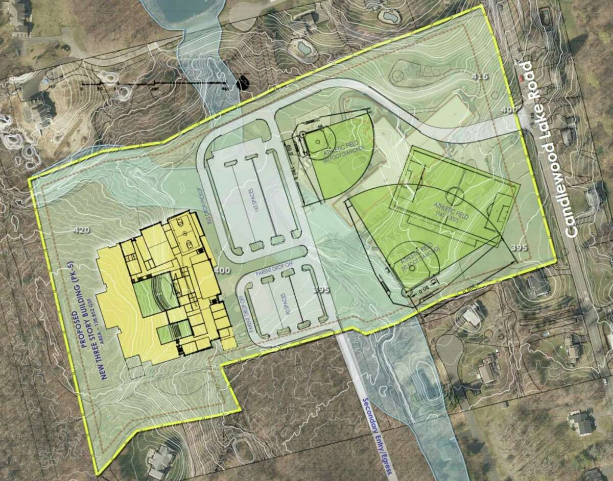 Conceptual images and plans for Huckleberry Elementary School in Brookfield.