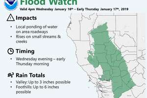 The National Weather Service issued a flood watch for portions of California due to an incoming storm that could send up to 3 inches in the Valley and 6 inches in the Foothills.