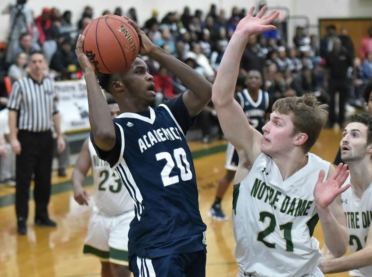West Haven, Connecticut - Tuesday, January 15, 2019: Notre Dame H.S. of West Haven vs. Hillhouse H.S. basketball Friday evening at Notre Dame H.S.