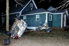 Nobody was home Monday morning when a 50-year-old Beaverton man reportedly crashed the vehicle he was driving into a house in the 5800 block of South M-30, south of Dundas Road in Tobacco Township around 6:50 a.m. (Photo provided)