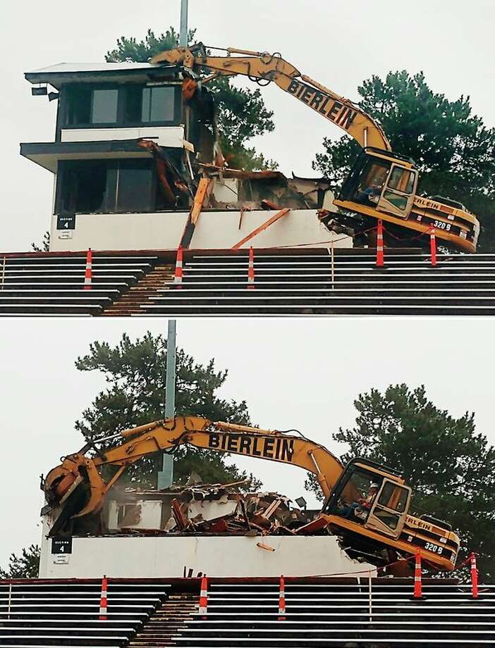 The press box at Midland Community Stadium is torn down Monday morning. The structure has not been used since it was damaged beyond repair by a fire in late August. The school district hopes to begin rebuilding in the spring and have it ready by next fall's sports seasons. (Courtesy Photos)