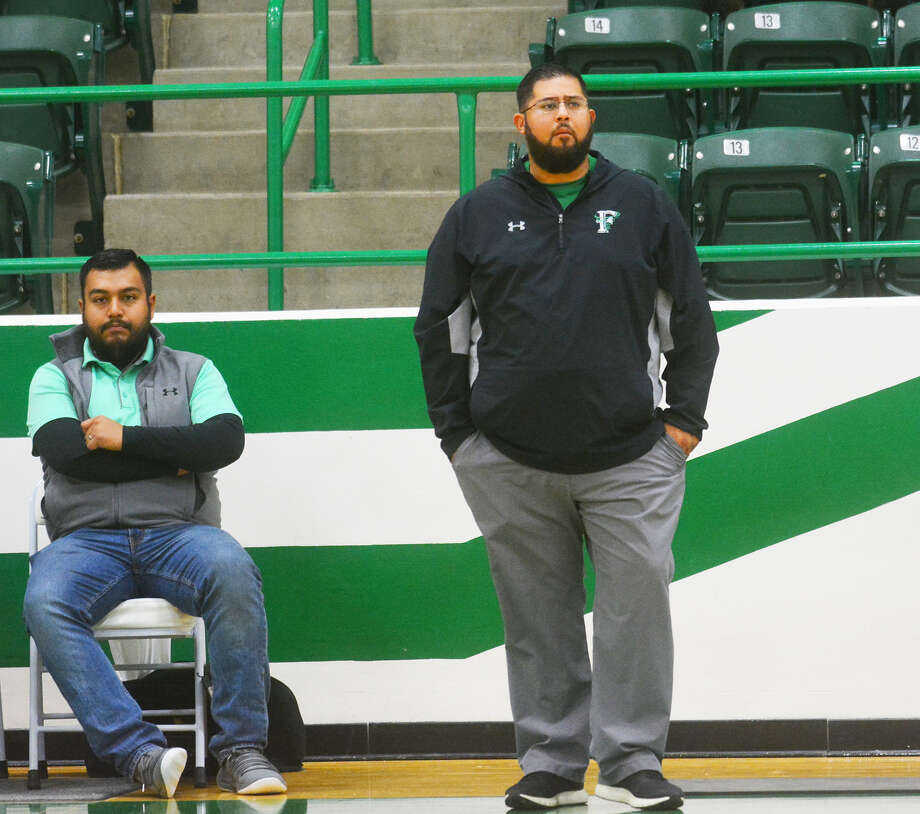 Class 2A, No. 10-ranked Floydada boys basketball head coach Adam Zepeda watches his team play Anton during the Floydada Classic on Dec. 7 in Floydada. Zepeda cleared the 100-win head coaching mark on Friday with a 62-49 win over Post in Floydada. Photo: Alexis Cubit/Plainview Herald