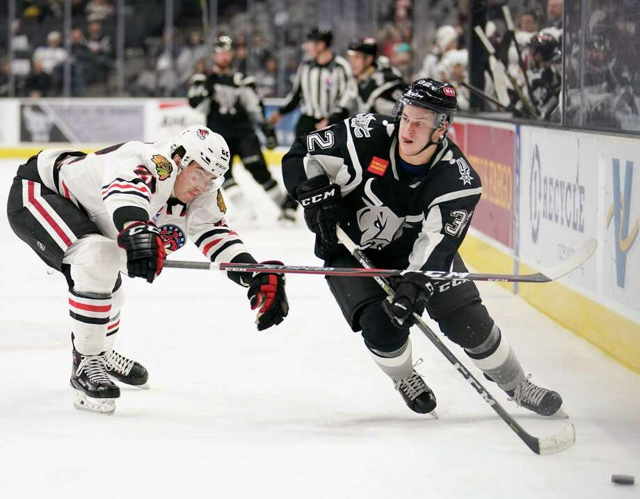 The Rockford IceHogs play the San Antonio Rampage during the second period of an AHL hockey game, Tuesday, Jan. 15, 2019, in San Antonio. (Darren Abate/AHL) Photo: Darren Abate, FRE / Darren Abate/AHL / Darren Abate Media, LLC/AHL/San Antonio Rampage