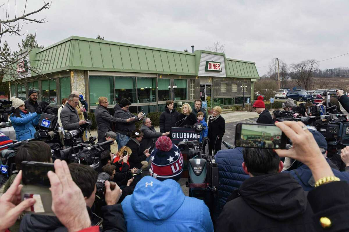 """Jan. 16, 2019: A day after her appearance on """"Late Night,"""" Gillibrand starts campaigning at the Country View Diner in Brunswick. Read story."""