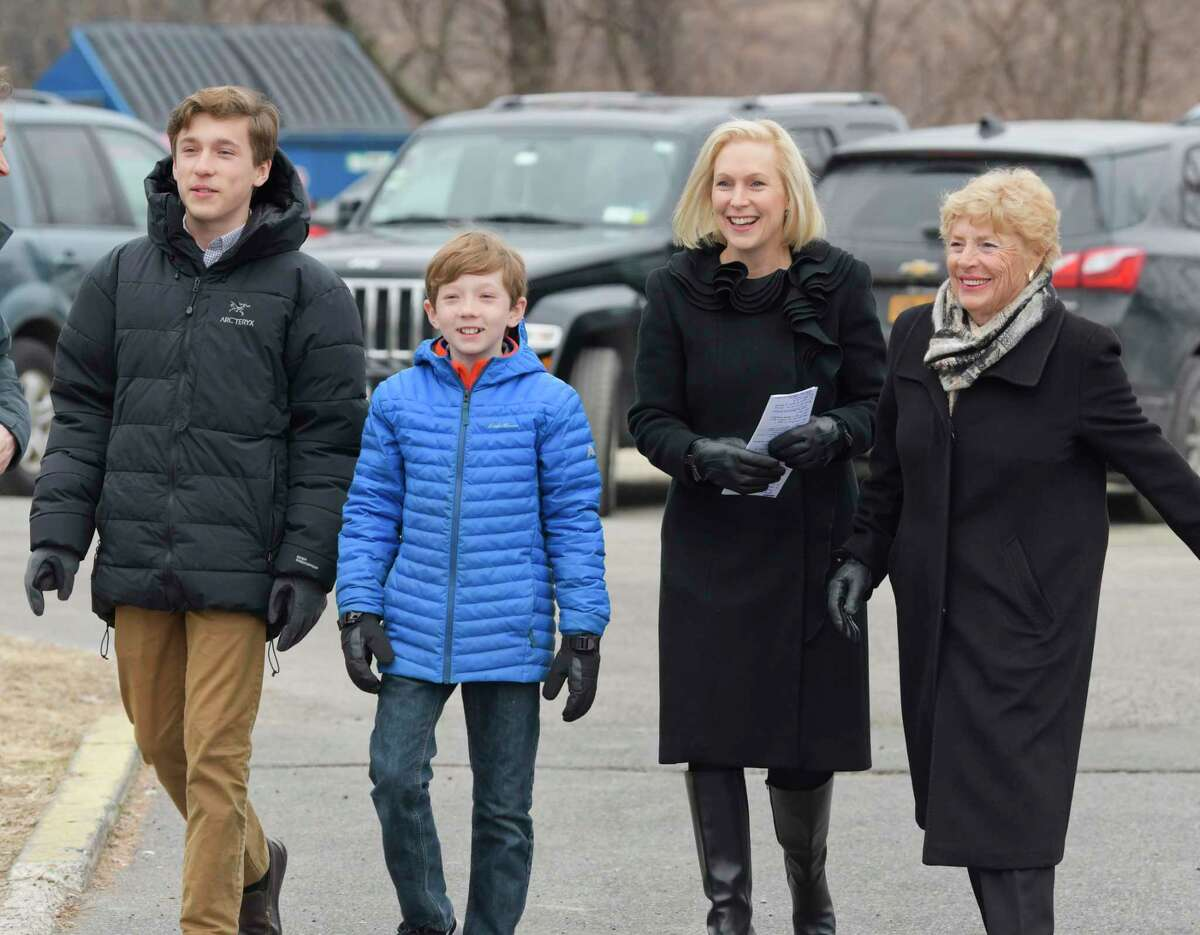 Presidential candidate U.S. Sen. Kirsten Gillibrand arrives on Jan. 16, 2019 at the Country View Diner in Brunswick with her sons, Theodore, left, Henry, and her mother Polly Rutnik. Gillibrand came to the diner with family and friends the day after making an announcement on The Late Show with Stephen Colbert that she would be running for President in 2020. (Paul Buckowski / Times Union)