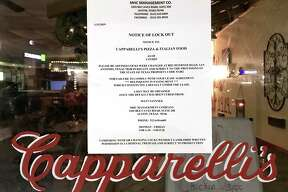 A notice is posted on the door of Capparelli?•s Pizza & Italian Food location at 8846 Huebner Road says the property's landlord has changed the locks for failure to pay rent.