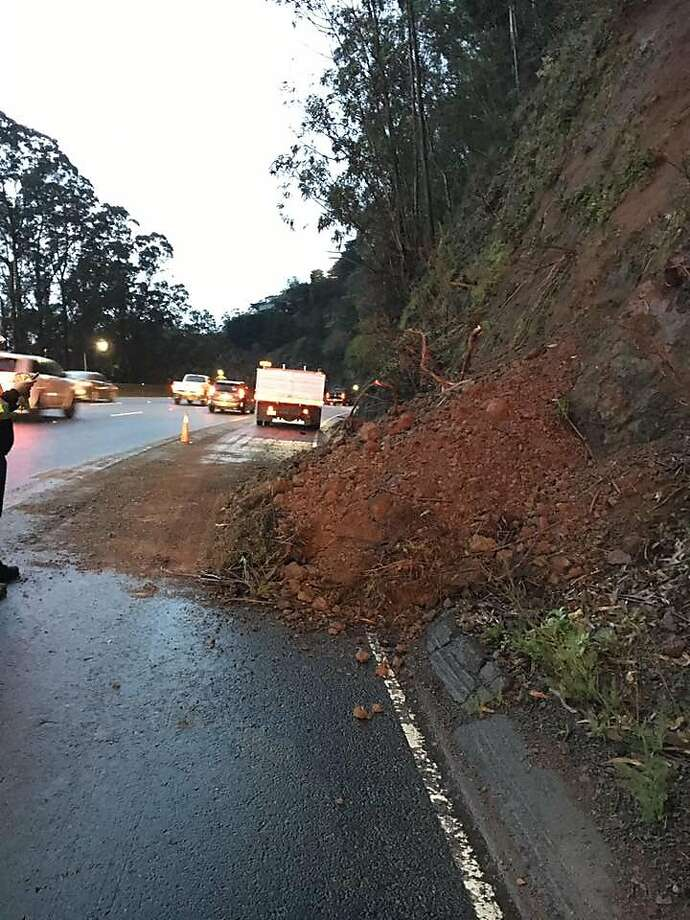 A small mudslide spilled onto the roadway early Wednesday on Highway 101 in Sausalito as the first signs of a heavy storm moved through the region, authorities said. Photo: California Highway Patrol