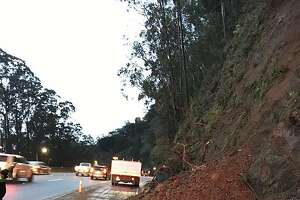 A small mudslide spilled onto the roadway early Wednesday on Highway 101 in Sausalito as the first signs of a heavy storm moved through the region, authorities said.