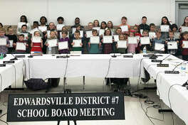 "The Edwardsville District 7 ""Do The Right Thing"" January award winners were honored at the Board of Education meeting Monday. Honorees include: Alexis Allen, Erica Bigtas and Hannah Bielicke from Edwardsville High School; Sam Vuagniaux, Kai Vetter and Claire Jones from Lincoln Middle School; Allison Russo, Caleb Israel, Mekhi Johnson, Naomi Israel and Micah Johnson from Liberty Middle School; Annica Miller, Madoka Fujinoki and Dorien Cochran from Columbus Elementary; Madison Sparks, Allyson Suhre and Chace Matheny from Worden Elementary; Mia Marshall, Andrah Salyer and Caroline Wylie from Woodland Elementary; Sunee Delkus, Olivia Sadler, Kaden Wilson and Brynner Reising from Cassens Elementary; Liam Hackney, Colin Huber and Lux Ealson from Glen Carbon Elementary; Tyler Lugge, Charlotte Wylie and Chloe Stephenson from Nelson Elementary; Evy Whittington, Hunter Gibbs and Ethan Bohnenstiehl from Hamel Elementary; Max Cherepkai, Catherine Ruyle and Lillie Brueggemann from Midway Elementary; Annora Burkaman, Ela Kuba, Alexander ""CJ"" Ahart and Mia Salger from Goshen Elementary; and Parker Snyders, Nolan McKinney and Ashlyn Andre from Leclaire Elementary."