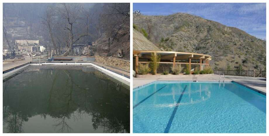 Before and after: The beloved Bay Area clothing optional resort Harbin Hot Springs is reopening its soaking pools after the deadly Valley Fire burned hundreds of thousands of trees and 95 percent of the retreat center's structures. In the left photo, see one of the pools after the fire and in the right, see one of the newly built pools. Photo: Courtesy Harbin Hot Springs