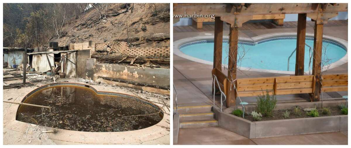 Before and after: The beloved Bay Area clothing optional resort Harbin Hot Springs is reopening its soaking pools after the deadly Valley Fire burned hundreds of thousands of trees and 95 percent of the retreat center's structures. In the left photo, see one of the pools after the fire and in the right, see one of the newly built pools.