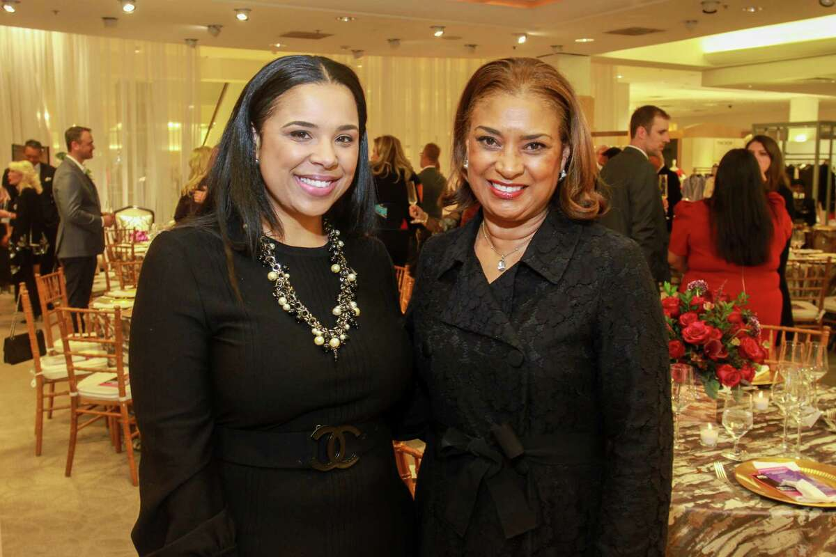 """Lauren Randle, left, and Kathy Wells at the Houston Chronicle's Best Dressed """"Hall of Fame"""" Dinner at Neiman Marcus."""