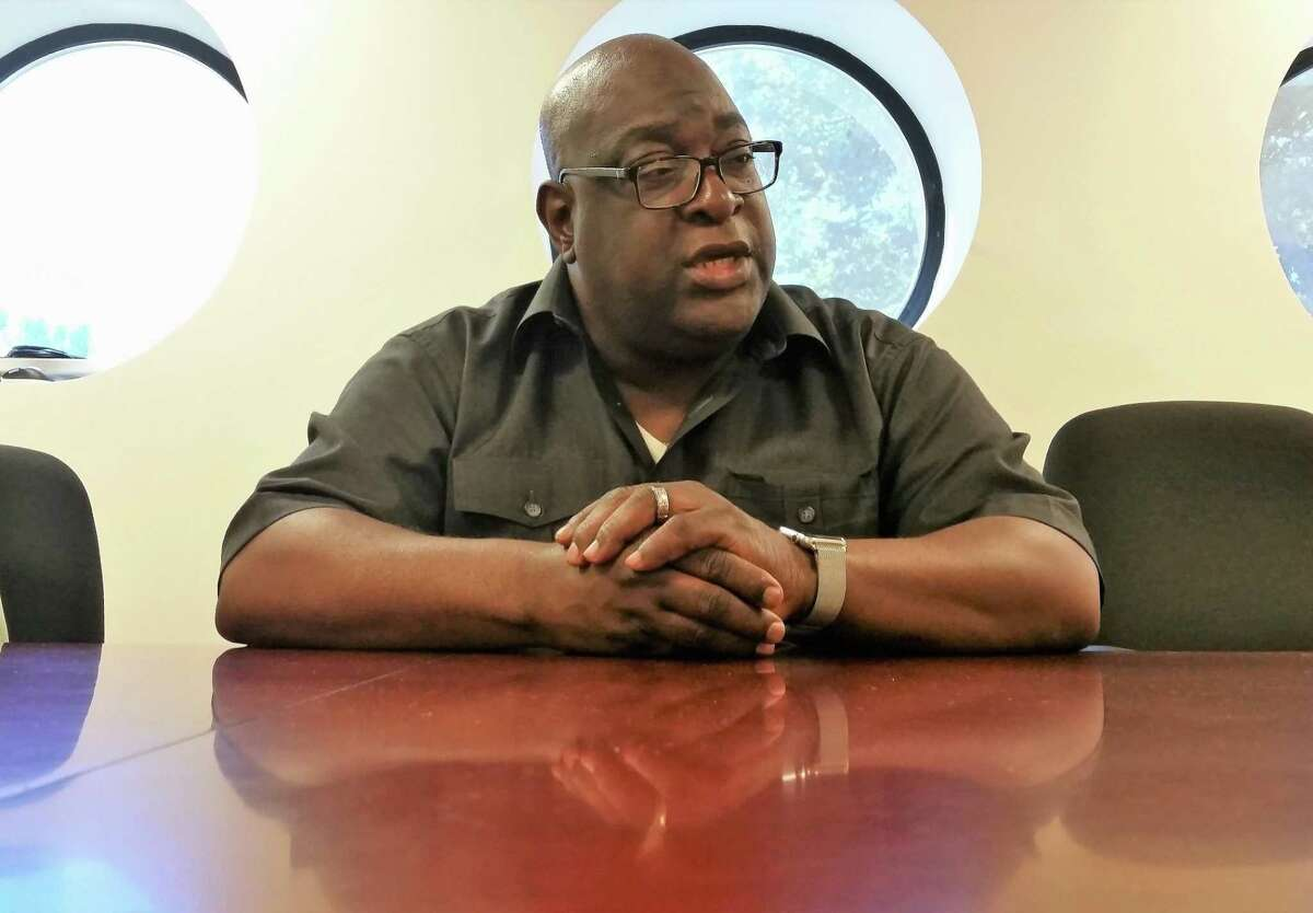 The Rev. Boise Kimber speaks to the New Haven Register Editorial Board.