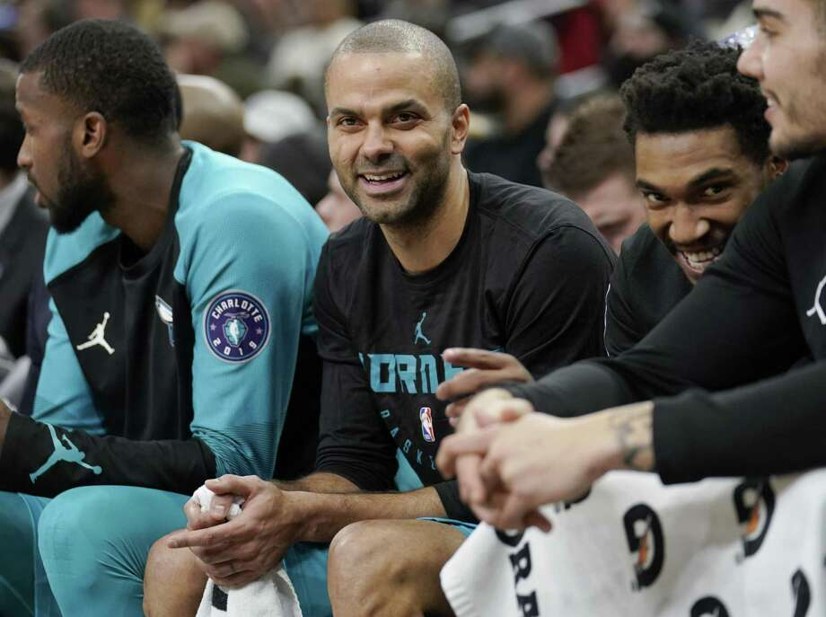 Charlotte Hornets' Tony Parker laughs on the bench during the second half of an NBA basketball game against the San Antonio Spurs, Monday, Jan. 14, 2019, in San Antonio. Charlotte won 108-93. (AP Photo/Darren Abate) Photo: Darren Abate,  FRE / Associated Press / Copyright 2019 The Associated Press. All rights reserved.