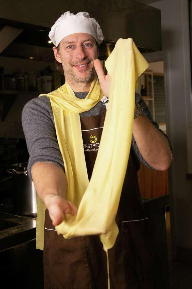 Federico Perandin , owner and chef of Il Pastaficio restaurant, a handmade pasta hidden gem in Cos Cob, CT. Photo: Francesca Andre / For Hearst Connecticut Media / Connecticut Post Freelance