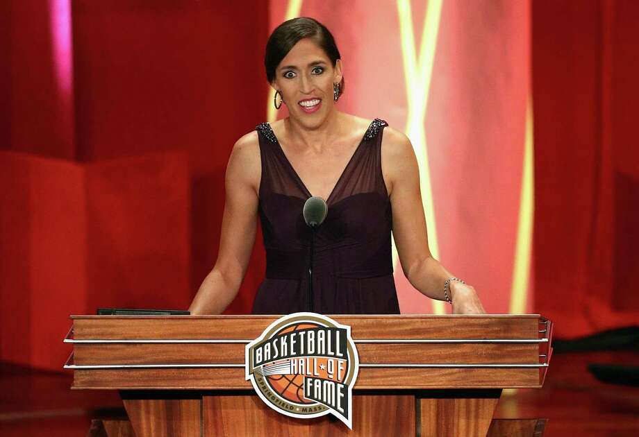 Basketball Hall of Fame Class of 2017 enshrinee Rebecca Lobo speaks at Symphony Hall in Springfield, Mass. Photo: Maddie Meyer / Getty Images / 2017 Getty Images