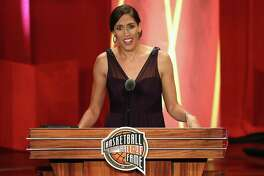 Basketball Hall of Fame Class of 2017 enshrinee Rebecca Lobo speaks at Symphony Hall in Springfield, Mass.