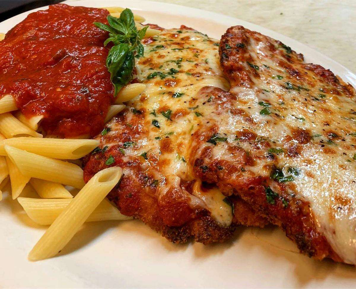 Chicken Parmesan is popular at Roseland Apizza in Derby.