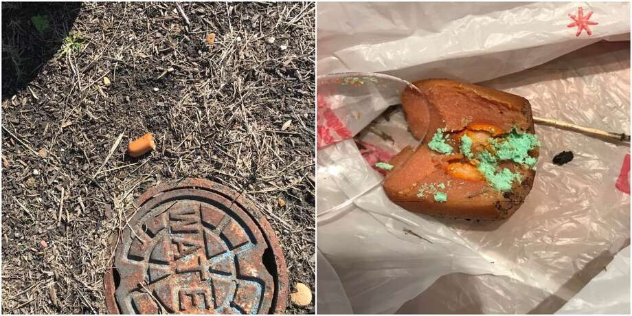 Residents in Cibolo have thrice reported finding hot dogs stuffed with glass, metal and crushed pills of an unknown type, according to Cibolo Police. A person of interest has been identified, but no arrests have been made. Photo: Courtesy Of Carrie Stegura