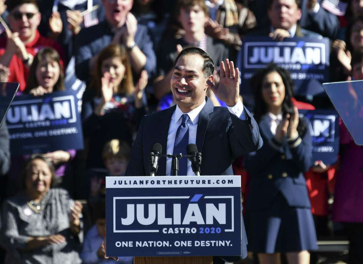 Julian Castro acknowledges applause as he announces that he is running for president of the United States in 2020 during a rally at Plaza Guadalupe on Saturday, Jan. 12, 2019.