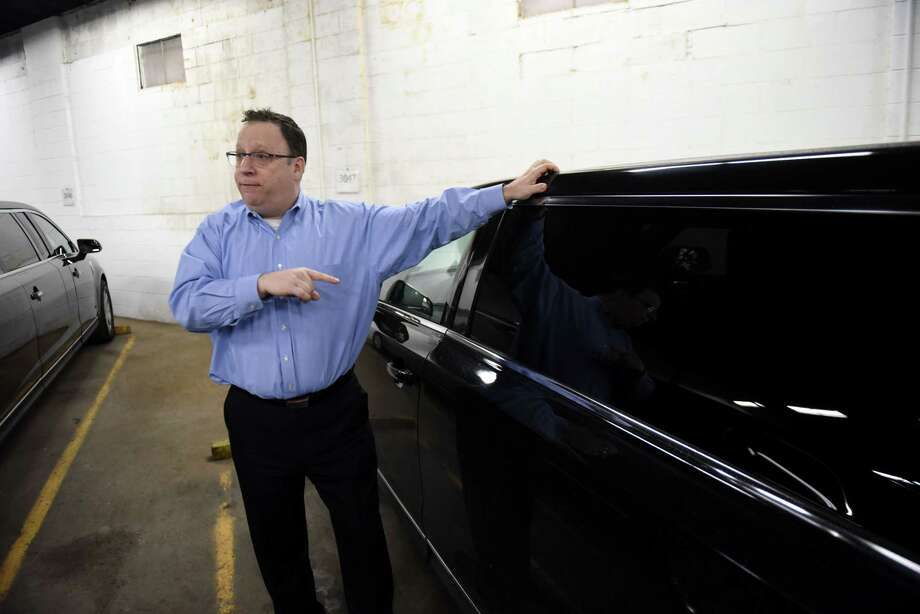 "David Brown, owner of Premiere Transportation, discusses new limo regulations that are being proposed by Gov. Andrew Cuomo in the wake of the Schoharie tragedy that killed 20 people on Wednesday, Jan. 16, 2019, in Albany, N.Y. The plan includes a ban on ""stretched"" or remanufactured limousines in New York, as well as sweeping measures to expand regulation of the limousine industry in response. (Will Waldron/Times Union) Photo: Will Waldron, Albany Times Union / 20045958A"